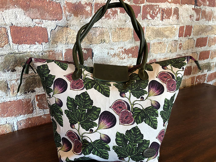 Large Shopper Fig Green Leather